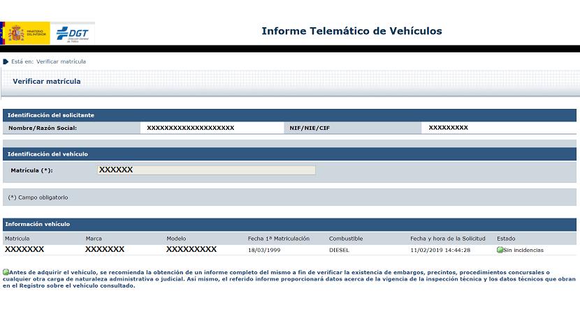Informe reducido favorable antes de consultar las cargas de un coche