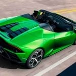 Trasera del Lamborghini Huracán Evo Spyder