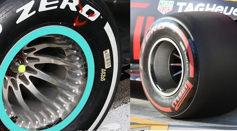 Llantas Mercedes y Red Bull comparativa