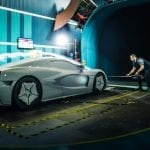 Rimac C_Two Galactic White Wind Tunnel Testing