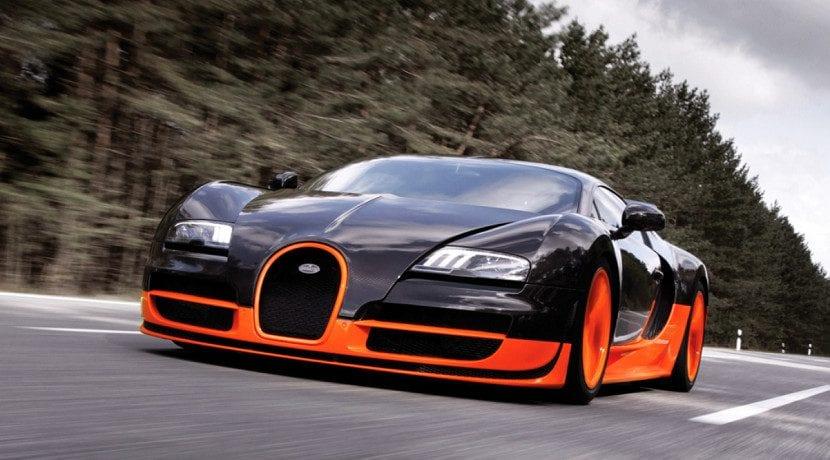 Frontal del Bugatti Veyron Super Sport el tercer coche más rápido del mundo