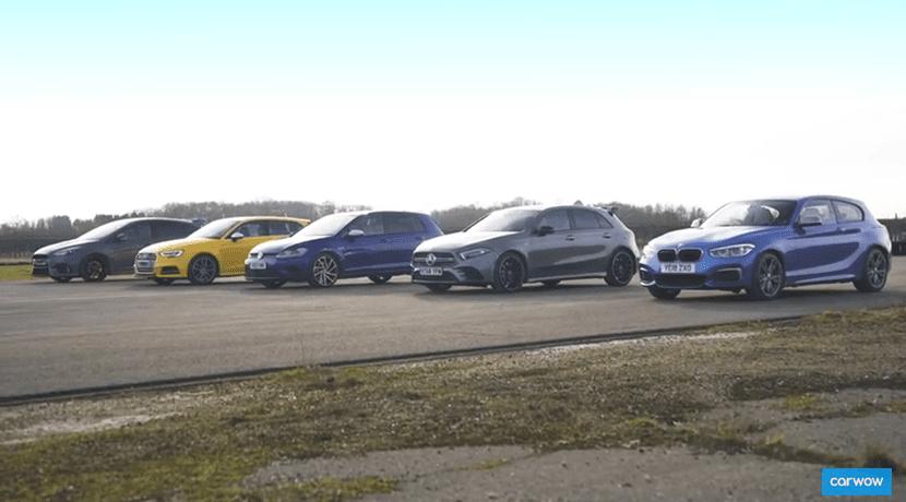 Carrera de aceleración BMW M140i, Mercedes AMG A 35, Volkswagen Golf R, Audi S3 y Ford Focus RS