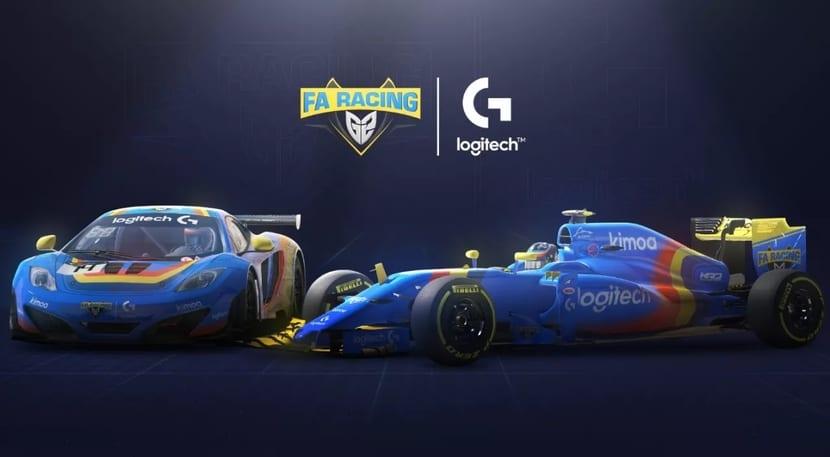 FA Racing logo y Logitech