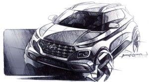 Hyundai Venue boceto exterior frontal