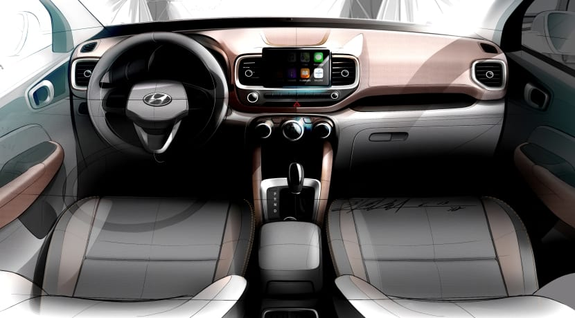 Hyundai Venue boceto interior