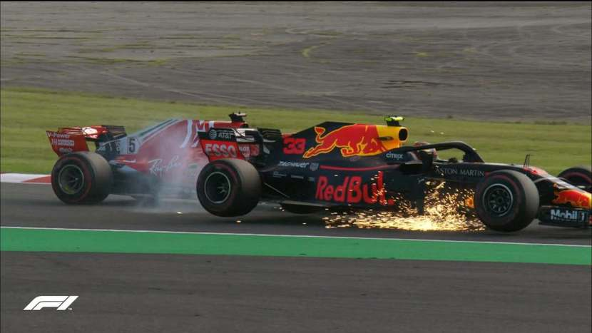 accidente de Vettel contra Verstappen 2018