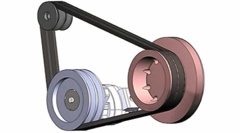 Polea del cigüeñal de un motor con su correa