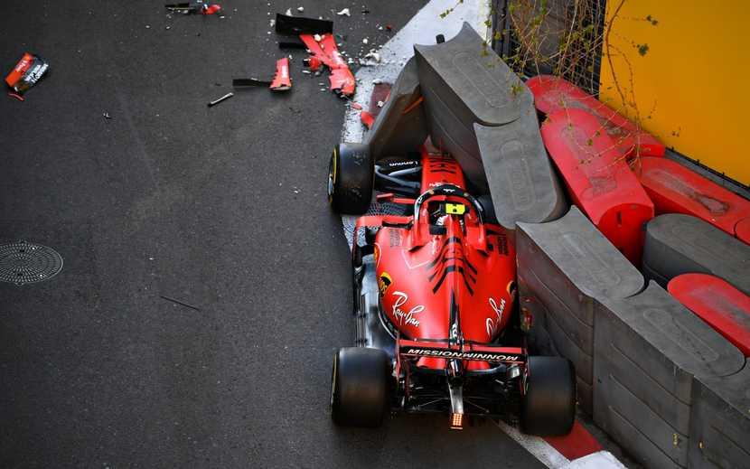 Ferrari de Leclerc tras el impacto