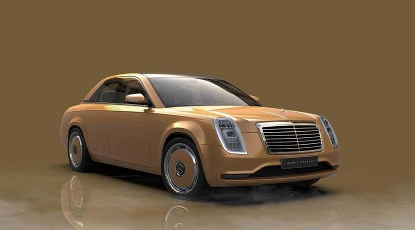 Frontal del Mercedes Icon E Concept en color dorado