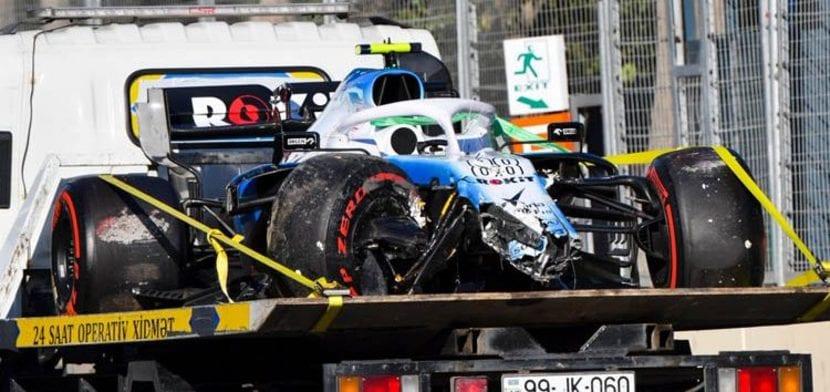 El WIlliams de Kubica tras el accidente