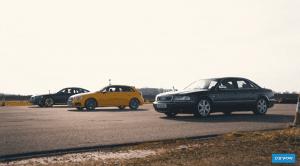 Audi S3, A8 50 TDI y S8 en drag race