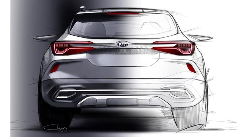 Boceto teaser Kia SUV compacto trasera