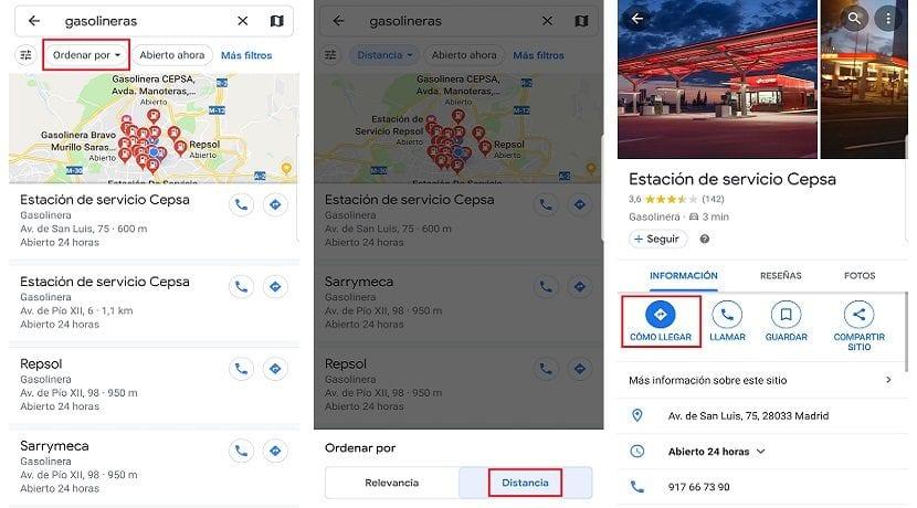 Encontrar la más cercana con Google Maps y GPS