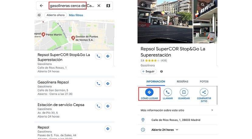 Encontrar gasolinera más cercana a un sitio que no estás con Google Maps