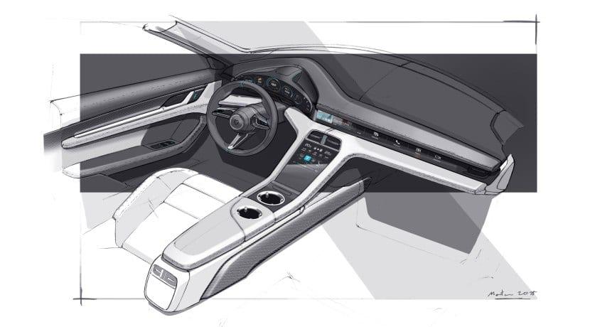 Porsche Taycan 2020 interior boceto