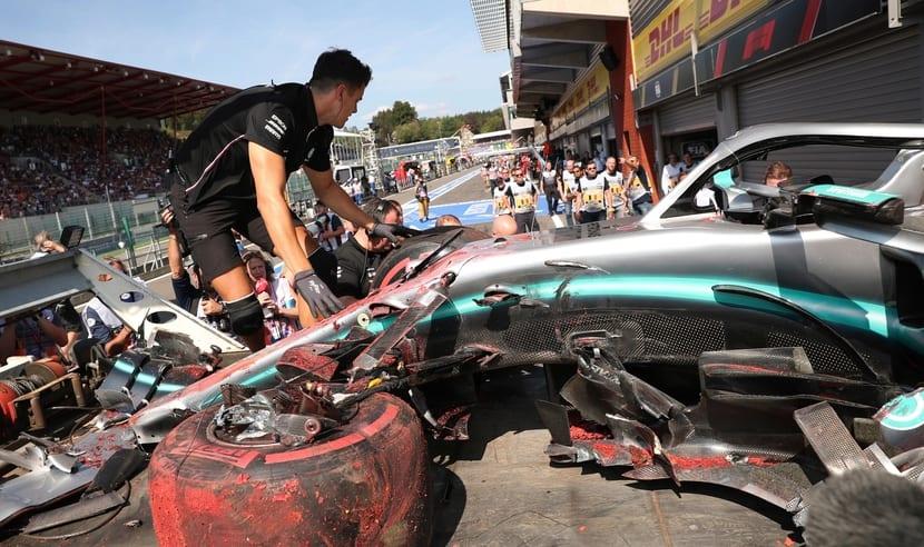 Mercedes tras el accidente