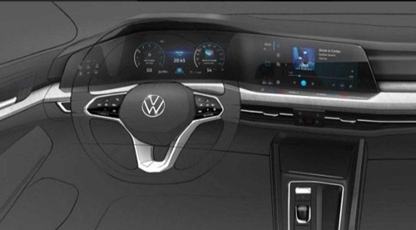 Boceto del interior del Volkswagen Golf Mk8