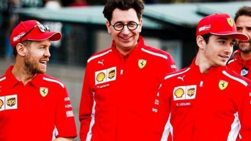 Vettel, Binotto y Leclerc