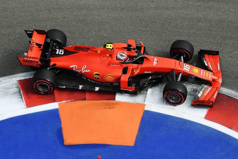 Leclerc en el Ferrari, en Rusia 2019