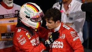Saludo de Vettel a Leclerc