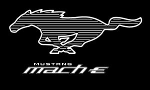 Ford Mustang Mach-E Pony White logo