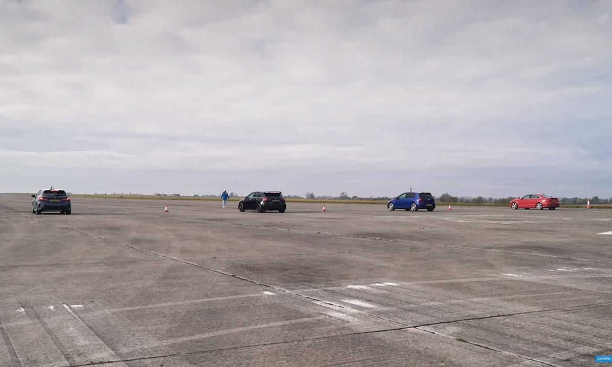 Drag Race: BMW M135i, Mercedes AMG A35, Volkswagen Golf R y Audi S3