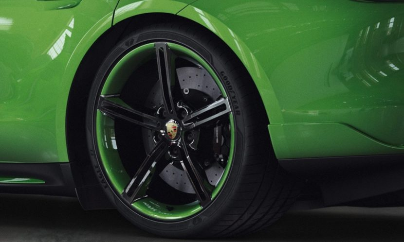 Llantas del Taycan modificado por Porsche Exclusive de color verde