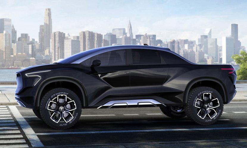 Lateral del la Pick-up de Tesla (Recreación de Emre Husmen)