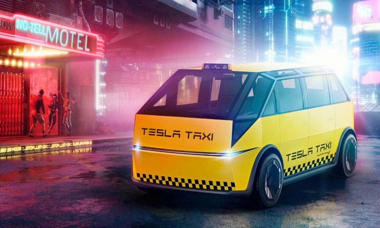 Tesla Cybertaxi render