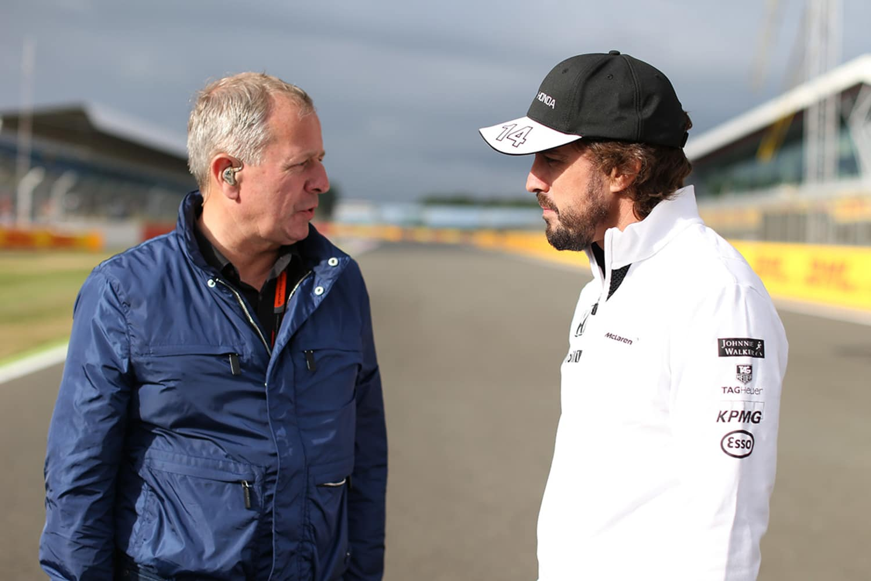 Martin Brundle con Fernando Alonso