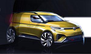 Boceto del frontal de la Volkswagen Caddy 2020