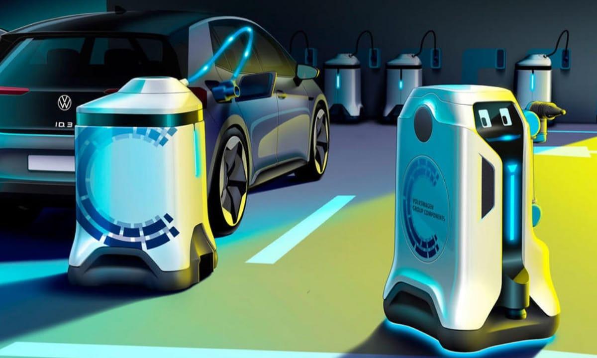 Un robot y varias estaciones de carga móviles