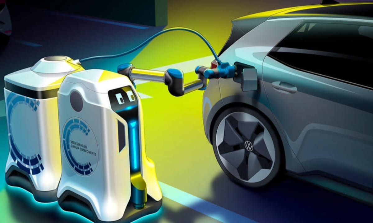 Robot autónomo de Volkswagen para cargar vehículos eléctricos