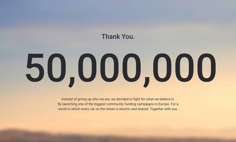 Sono Motors 50 million reached