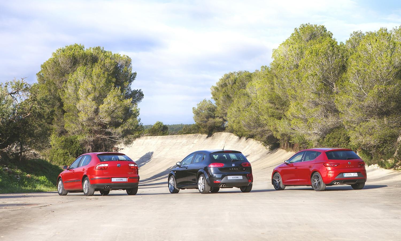 Tres primeras generaciones del Seat León