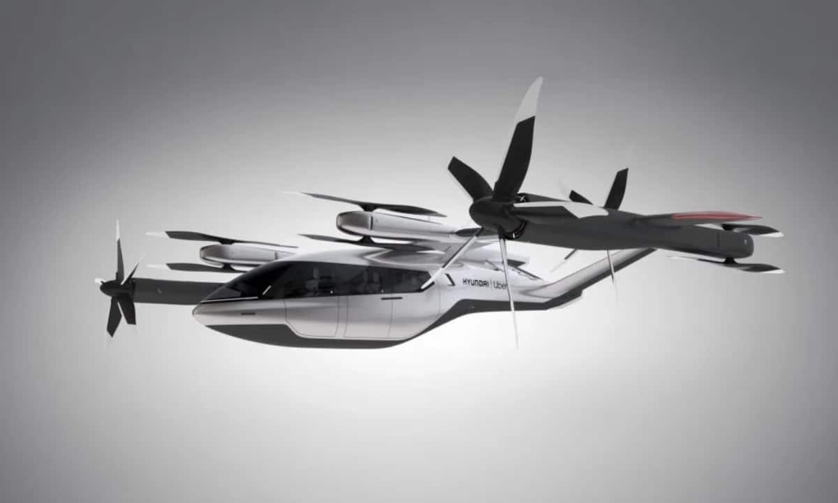 Lateral del Taxi volador eléctrico de Uber y Hyundai