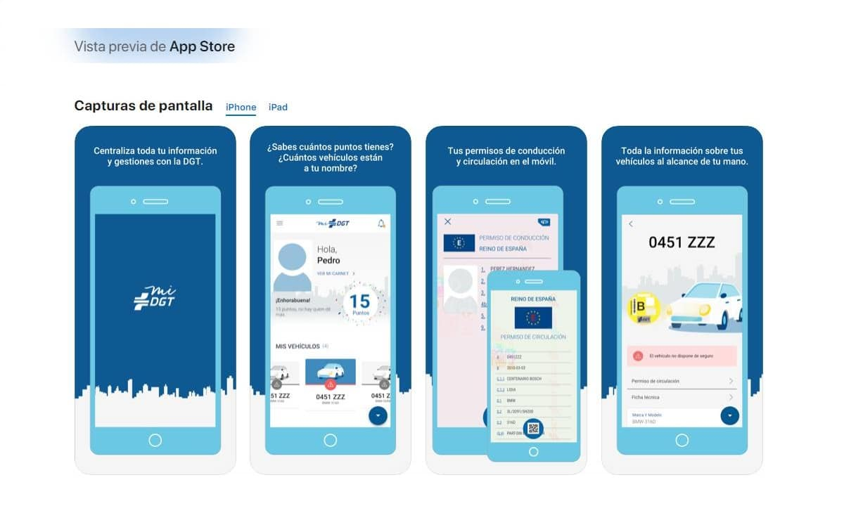App miDGT App Store Apple para iPhone e iPad