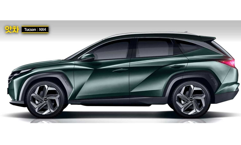 Hyundai Tucson 2021 rendering by AtchaCars side