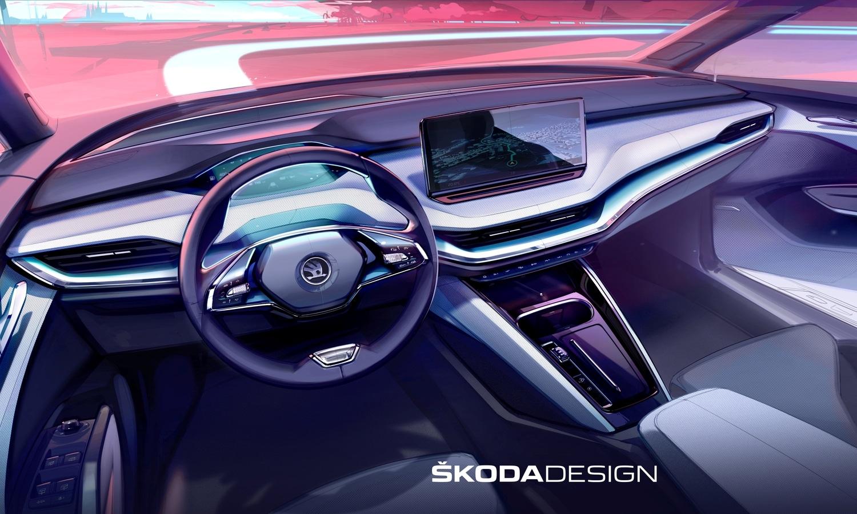 Skoda Enyaq iV boceto interior