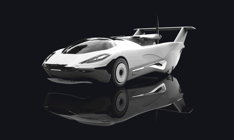 Frontal del AirCar de Klein Vision con alas plegadas