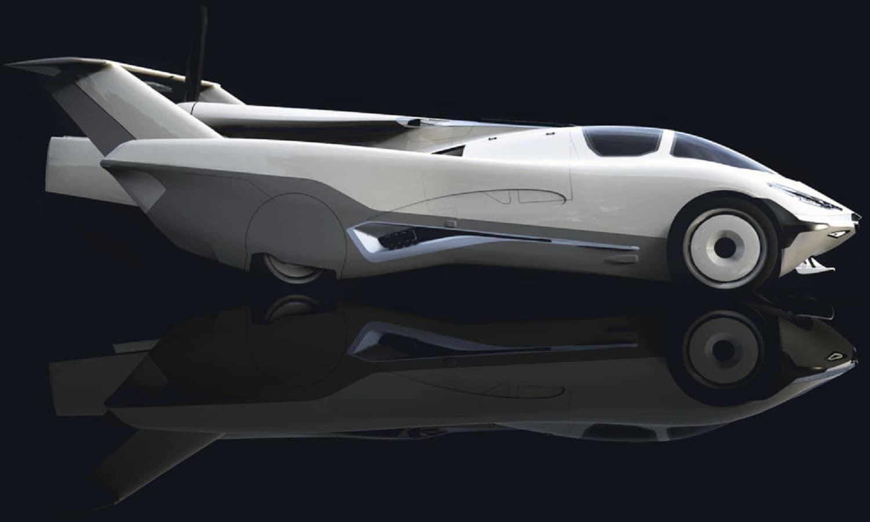 Lateral del AirCar Klein Vision con las alas plegadas