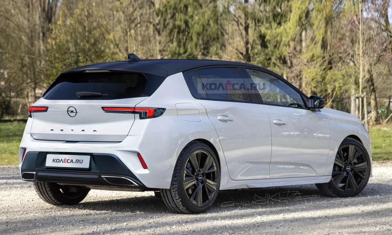 New Opel Astra rear render by Kolesa