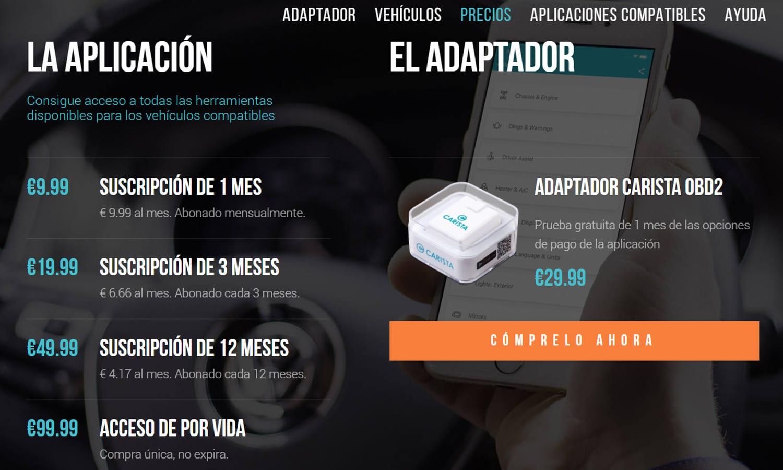 Precios App Carista