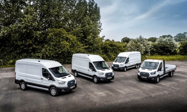 The trials fleet features a full range of E-Transit variants