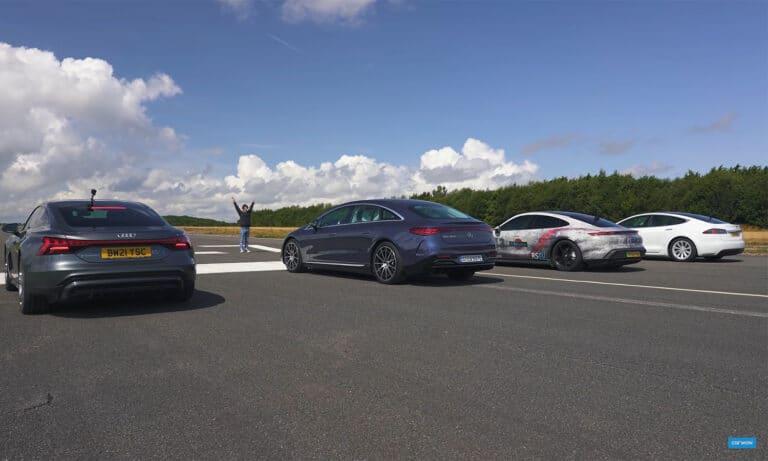 Drag Race Taycan, EQS, e-tron GT, Tesla Model S