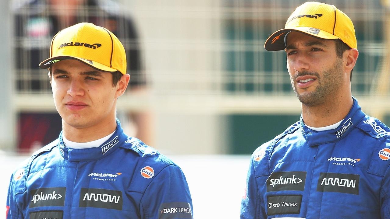 Daniel Ricciardo y Lando Norris de McLaren