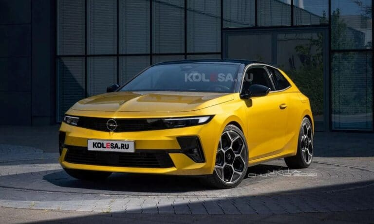Opel Astra GTC front render by Kolesa